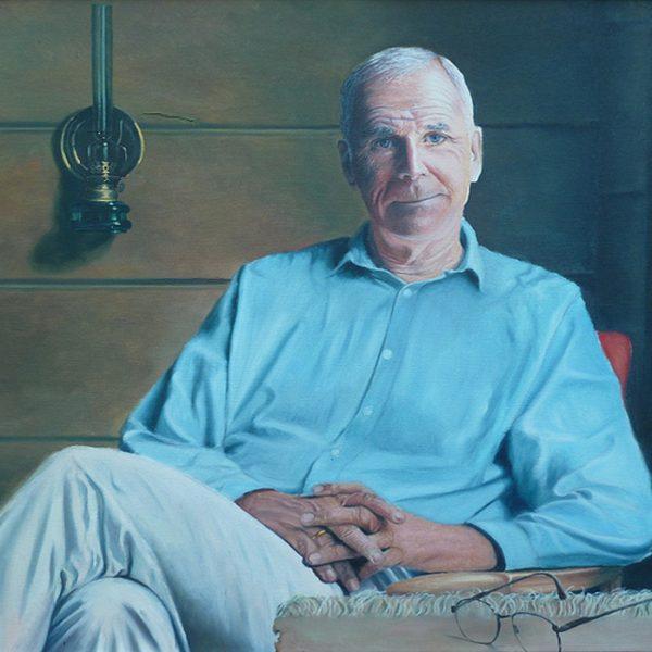 Anders Helseth. Portrett av en tidligere ambassadør og nåværende forfatter., 75x60cm, olje