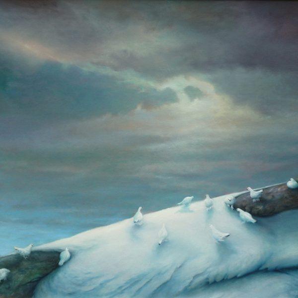 Ryper på isbre. Ryper på vinteren blir stadig meir utsatt grunnet klimaendringar. 85x65cm, olje